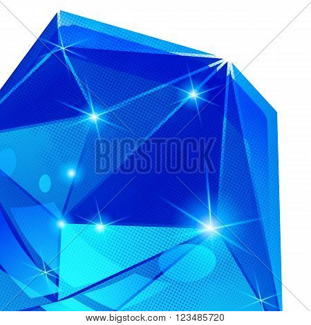 Plastic pixilated backdrop with glossy 3d cybernetic object