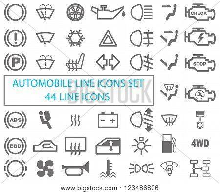 Set of automotive icons. Drawing on a white background. Vector Image.