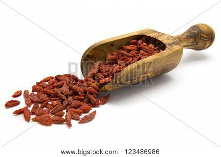 Dried Goji berries in wooden scoop on white isolated background