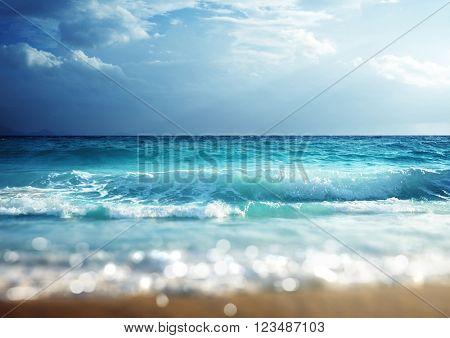 beach in sunset time, tilt shift soft effect