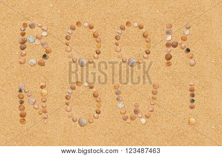 Call to book a beach holiday or tour written with seashells in the sand at the beach