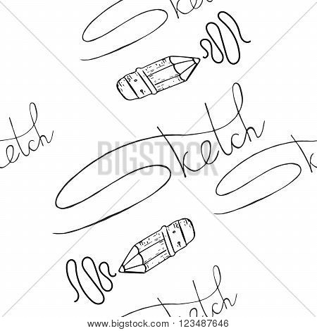 vector background with an inscription and a pencil