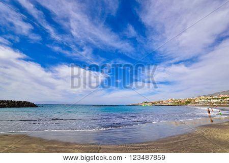 Fanabe beach in summertime, in Tenerife, Spain