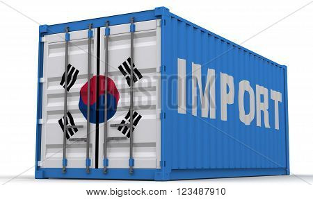 Import of South Korea. Freight container on a white surface with inscription