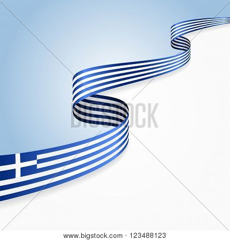 Greek flag wavy abstract background. Vector illustration.