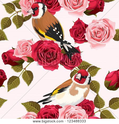Vintage goldfinch and roses vector seamless background
