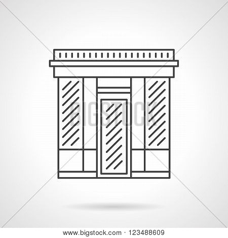 Abstract facade of textile shop. Commercial buildings. Storefronts and showcases. Vector icon flat thin line style. Element for web design, business, mobile app.