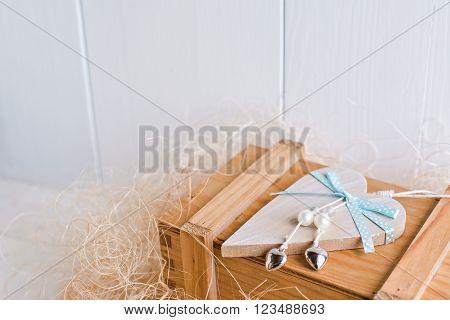 and sending a love letter on  white wooden background