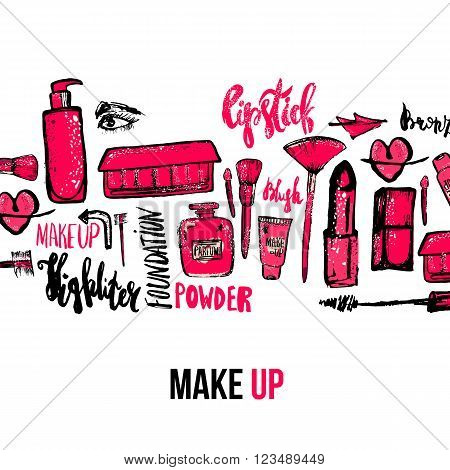 Vector Makeup background. Glamorous makeup collection with nail polish and lipstick.Creative makeup design for card, web design background, book cover