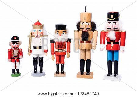 Five antique nutcrackers - studio shot on white background