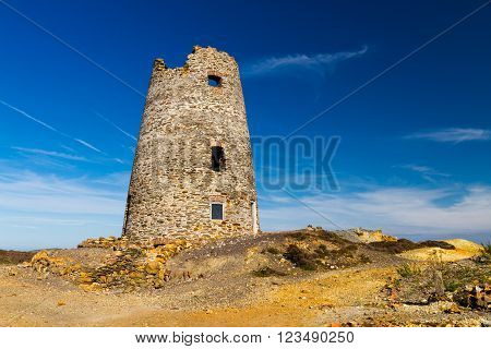 Parys Mountain ex quarry with derelict lighthouse. Amlwch Anglesey Wales United Kingdom