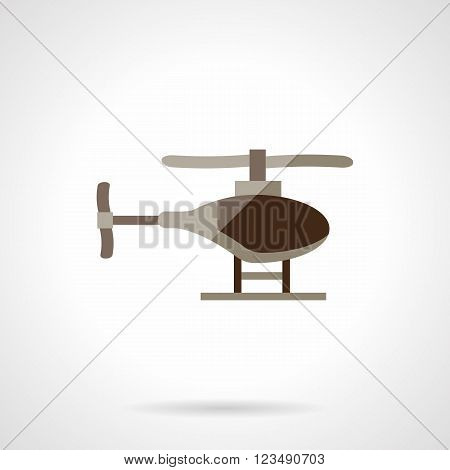 Brown single helicopter. Military UAV. Rescue helicopter. Aircraft vehicles. Vector icon flat color style. Web design element for site, mobile and business.