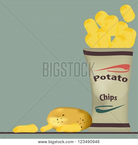 pack of chips and glass of beer vector illustration