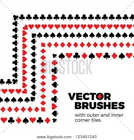 Card suits vector seamless brushes with inner and outer corner tiles. Dividers, borders, ornaments. All used pattern brushes are included in brush palette.