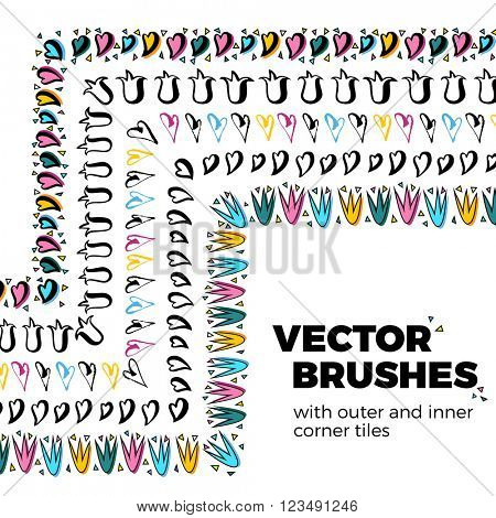 Hand drawn decorative hearts, tulips flowers vector brushes with inner and outer corner tiles. Dividers, borders, ornaments. All used pattern brushes are included in brush palette.