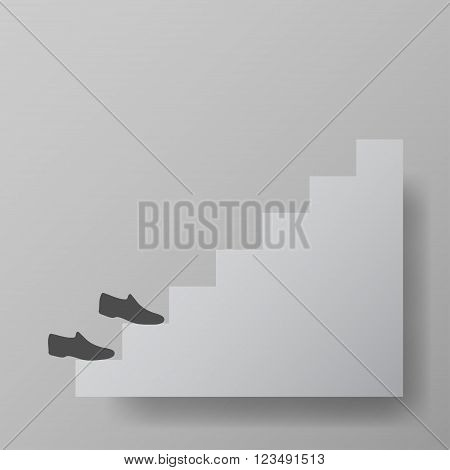 shoes up the stairs, staircase upstairs vector illustration