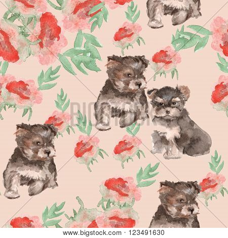 background Yorkie puppies and flowers watercolor seamless pattern.