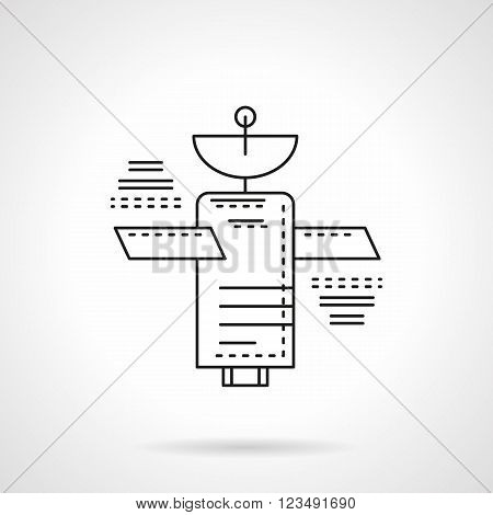 Navigation, communications or meteorological artificial Earth satellite. Space technology. Vector icon flat thin line style. Element for web design, business, mobile app.