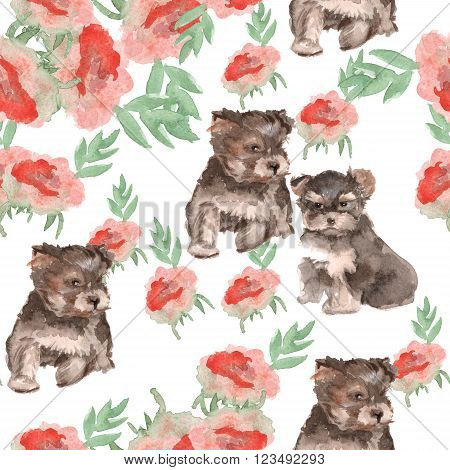 background Yorkie puppies and flowers. seamless pattern. watercolor