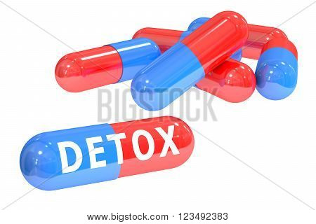detox pills 3D rendering isolated on white background