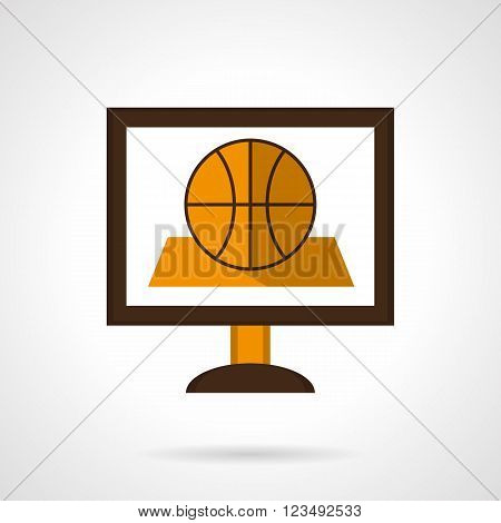 Basketball game online. Computer monitor with ball on an abstract field. Vector icon flat color style. Web design element for site, mobile and business.