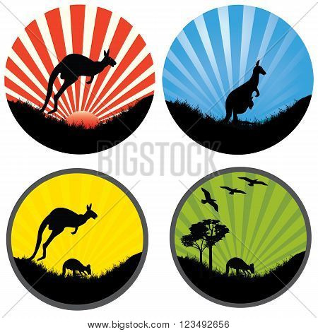 four icons round with rays and kangaaroos