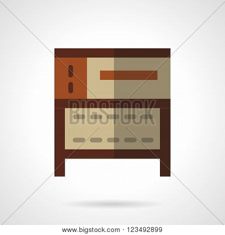 Bakery equipment for commercial and domestic kitchen. Oven and stoves. Brown oven for cakes. Vector icon flat color style. Web design element for site, mobile and business.