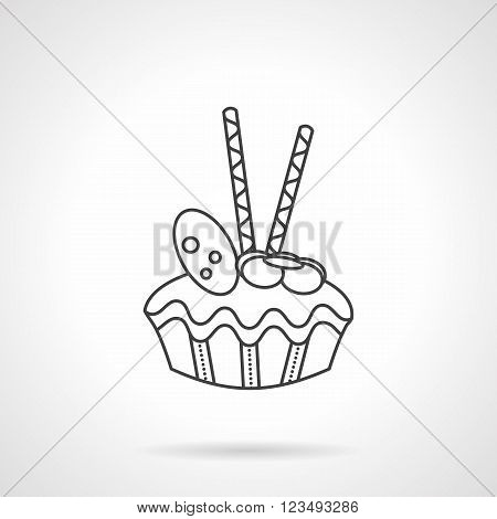 Fruitcake with nuts and two chocolate sticks. Desserts menu with cupcake, muffin. Sweets and cakes for cafe and coffee shop. Vector icon flat line style. Element for web design, business, mobile app.