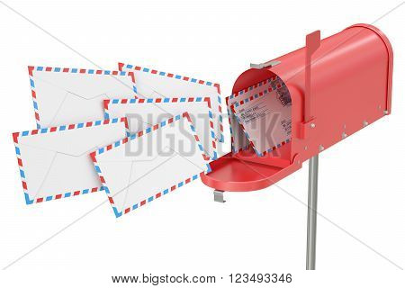 Mailbox with envelopes 3D rendering isolated on white background