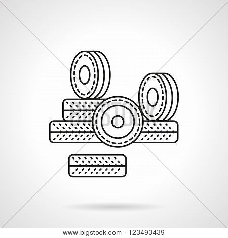 Kit of wheels for roller skates. Spare parts and accessories for rollers, skateboard, longboard. Activity lifestyle. Vector icon flat thin line style. Element for web design, business, mobile app.