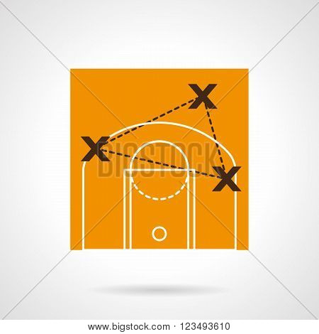Strategy of basketball game. Players position points. Trainers tactic board. Vector icon flat color style. Web design element for site, mobile and business.