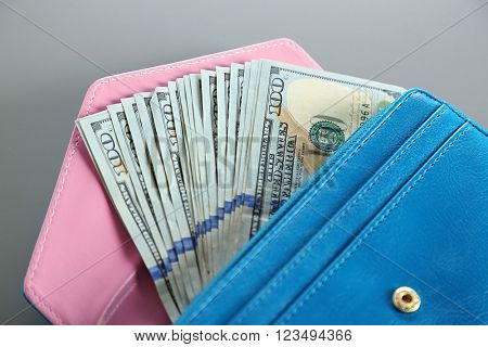 Blue wallet with dollar bills on the grey background