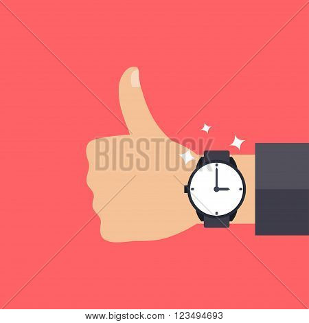 Hand with modern watch thumbs up men fashion vector illustration
