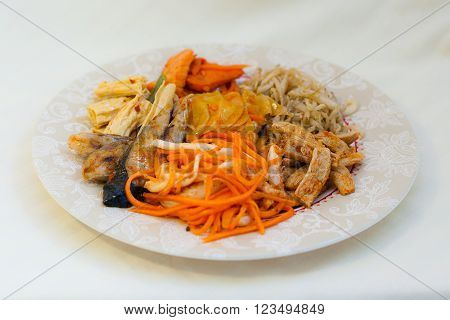 Korean Salads, Soy, Kimchi, Spicy Fish, Carrots, Calamari, Tofu And Fish - Seafood In Russian Far Ea