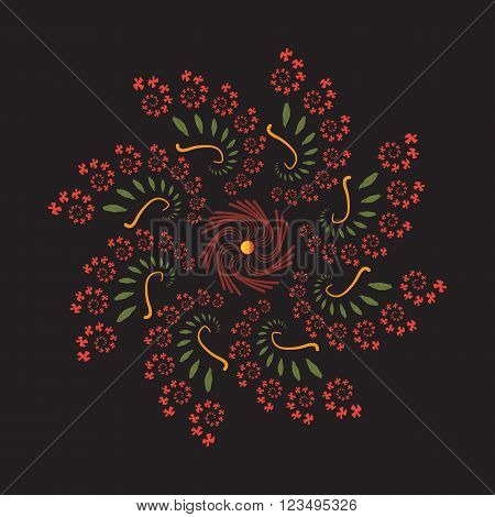 Futuristic fractal flower with rotation in restrained colors