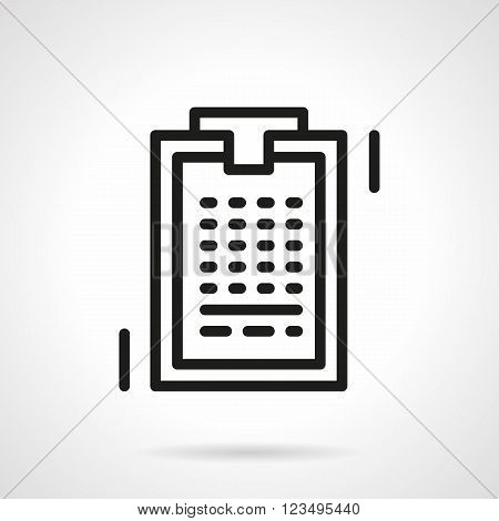 Office supplies and paperwork. Social survey. Business notes. Clipboard with paper. Vector icon simple black line style. Single design element for website, business.