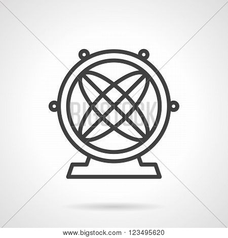 Orbital model or magnetic pendulum. Physics models. Science and education. Vector icon simple black line style. Single design element for website, business.