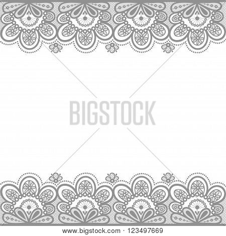 Vector illustration of gray lace flowers. Old lace.