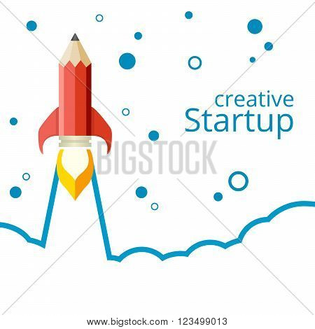Banner for a startup. Pencil rocket takeoff. Line abstract background