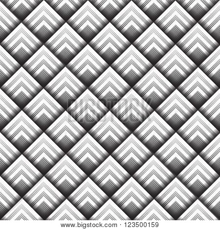 Seamless geometric background made from black and white halftone squares, layered to give a three dimensional effect. EPS10 vector format.