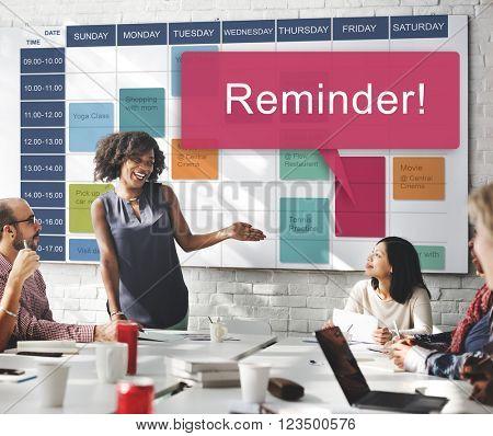 Reminder Calendar Events Memo Note Planner Concept