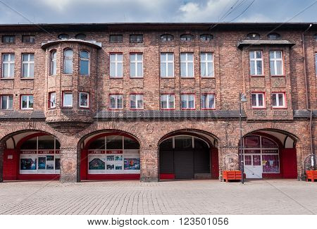 Katowice Poland - March 28 2016: Nikiszowiec historic district of Katowice. Initially it was coal miners' settlement of Giesche mine.