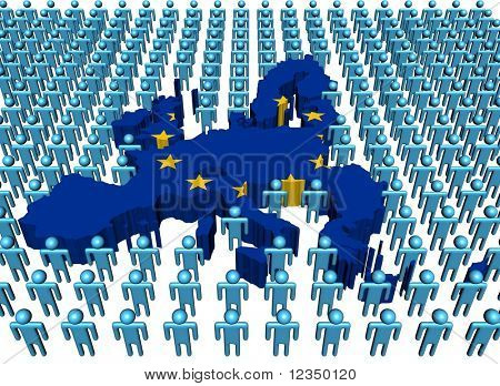 European Union map flag surrounded by many abstract people illustration