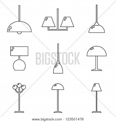 Lamps isolated on white background. Lamps set. Lamps collection. Modern and classic lamps. Lamps for living room, bedroom and kitchen. Flat line style vector illustration.