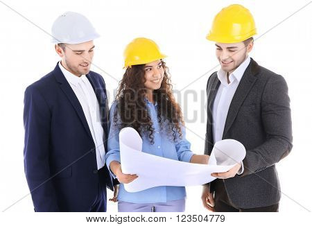 Few engineers with blueprint, isolated on white
