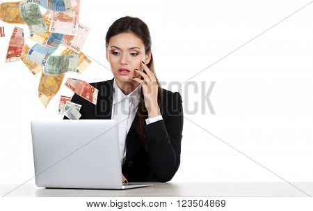 Financial concept. Make money on the Internet. Business lady with laptop isolated on white
