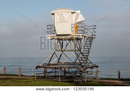 A lifeguard tower at an overlook in La Jolla, California.