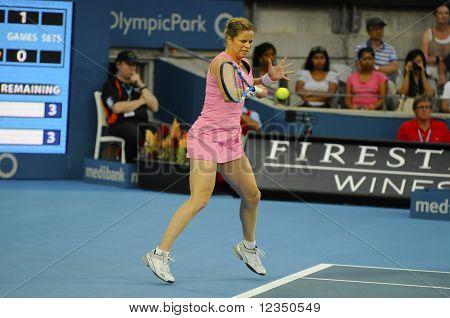 Kim Clijsters Returning Serve At The Medibank International Sydney 2011