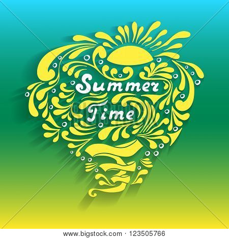 Handmade inscription Summer Time with sun waves splash in doodle style for advertising travel or for weekend  or for  sale