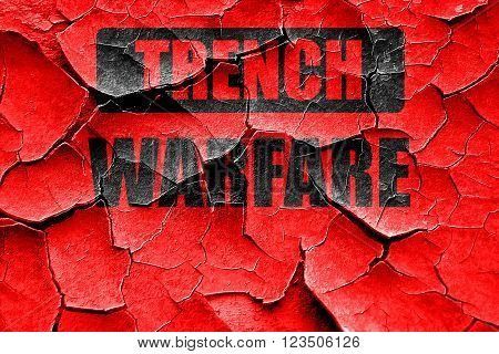 Grunge cracked trench warfare sign with some soft lines